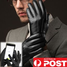 Wholesale Mens Black Leather Gloves - Mens Warm Driving Smartphone Touch Screen Gloves Full Finger PU Leather Winter