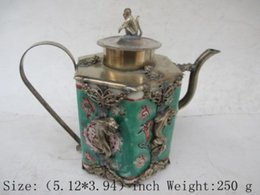 Wholesale Tibetan Decorations - Exquisite Chinese ancient Tibetan silver monkey inlaid with ceramic teapot