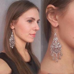 Wholesale Tassel Earrings Hook - 2017 retro name family style hollow flower water drops tassel earrings, personalized pattern carved earrings ear hook