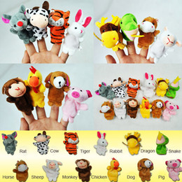 Wholesale Chinese Toy Sales - Wholesale-Hot Sale Chinese Zodiac 12pcs lot Animals Cartoon Biological Finger Puppet Plush Toys Dolls Child Baby Favor Finger Doll