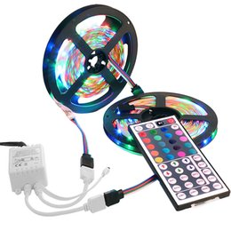 Wholesale Led Stripe Remote Rgb - Wholesale-Flexible 3528 LED Strip RGB 10m 600leds SMD Stripe Light With 44 keys Remote Control RS36