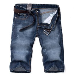 Wholesale Denim Shorts 38 - Wholesale- 2017 stylish men summer cotton denim shorts High-grade slim male large recreational shorts Harlan cowboy beach 3shorts size28-38