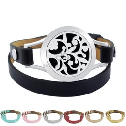 Wholesale Magnetic Clasps China - Silver Flower 25mm Black Genuine Leather Aroma Magnetic Locket Stainless Steel Bangle Essential Oils Diffuser Locket Leather Bracelet