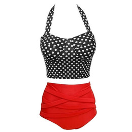 Estilos de pin up on-line-Detalhes sobre Retro Vintage Pin up Rockabilly polka dot cintura alta 2 biquíni estilo Swimwear maiô