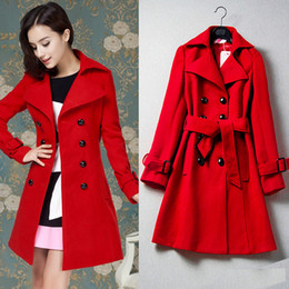 Wholesale Long Red Wool Ladies Coat - New Women's Clothing Casual Fashion Red Jacket Double Breasted Cashmere Wool Coat For Ladies Trench Coat With Belt Long Outwear Long Coat