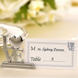 Wholesale Wedding Card Pictures - Banquet Seat Clip Creative Love Shape Alloy Card Note Picture Holder Table Decor Couple Supplies Wedding Gift 2 8yk F R