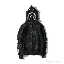 Wholesale Black Jacket Hoodie - Popular Brand Shark Head Skull Head Dark Black Hedge Sweater Hoodies Jackets Loves Skateboard Hip Hop Hoodies
