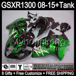 Wholesale Black Hayabusa Fairing Kit - 8gifts For SUZUKI Hayabusa GSXR1300 08 15 GSXR-1300 green flames 14MY36 GSXR 1300 GSX R1300 08 09 10 11 12 13 14 15 Fairing gloss black Kit