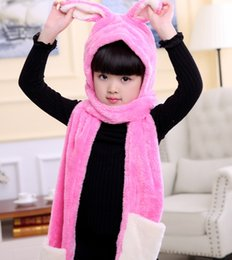 6e8674e7871 Kids Winter Flannel Bunny Ear Scarf Hat 1-piece caps children warm hadmade  beanie girls cartoon animal shawl poncho capes for 3-15TT