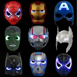 Wholesale Halloween Spiderman - LED Flash Mask Children Halloween Masks Glowing Lighting Mask Avengers Hulk Captain America Batman Ironman Spiderman Party Mask free ship