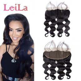 Wholesale natural body products - Peruvian Virgin Hair Lace Frontal Closure Queen Hair Product 7A Body Wave 13x4 With Baby Hair Human Closure Lace Frontal