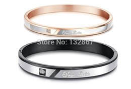 Wholesale Couple True Love - Wholesale- True Love couples Stainless Steel Fashion Bangle Bracelet for wife Husband Gifts N867