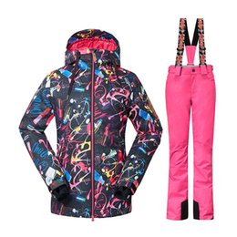 Wholesale Women Black Thermal Sets - Wholesale- 2016 Gsou Snow Ski Suits Women Professional Skiing Jackets Thermal Thicken Pants Waterproof 10000 Breathable 10000 Snowboard Set