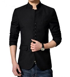 Wholesale Coats Chinese Collars - Wholesale- Chinese Tunic Suit Jackets Dense Button Design Mens Slim Fit Chinese Collar Blazer 2016 New Arrivals Wedding Coat Stage Outfit