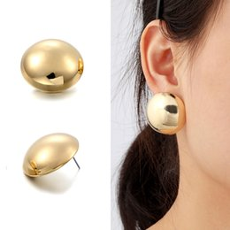 Wholesale Big Yellow Earrings - Yellow & White Gold Color Big Oversize Round Mirror Statement Half Ball Stud Earrings For Women Jewelry boucle d'oreille Aros