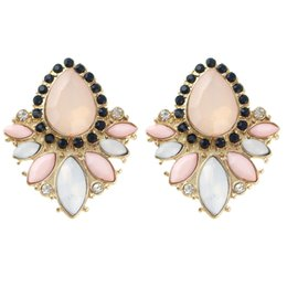 Wholesale Earring Purple - Fashion Flower Stud rhinestone Earrings Female Bijoux Jewelry Purple Party Earrings For Women