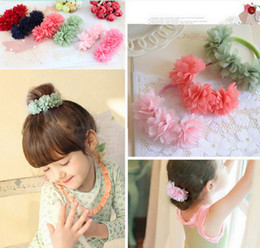 Wholesale Children Hair Rubber - Chiffon Flowers Children Baby Girls Headwear Hair Accessories Rubber Bands Barrettes Girl Bow Hair Ropes Wholesale Boutique