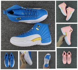Wholesale Red Light Taxi - New High Quality Retro 12 Casual Shoes Men 12s OVO White Pink Gym Red Taxi Blue Suede Flu Game Sports Sneakers With Box