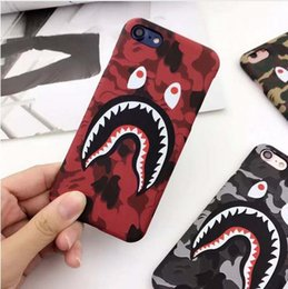 Wholesale Iphone Glow Cover - Brand Camouflage Shark Case For iphone 7 Plus Hard PC Back Phone Cases Luminous Glow Cover For iphone 6 6S Plus Coque Fanda