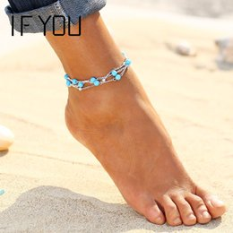 Wholesale Bead Barefoot Sandals - 2016 New Foot Jewelry Turquoise Beads Boho Anklets for Women Chaine Beach Vacation Bohemian Barefoot Sandals Enkelbandje