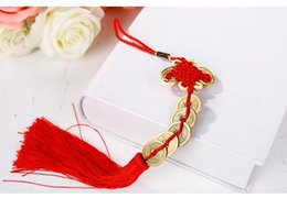 Wholesale I Ching - Red Chinese knot FENG SHUI Set Of Lucky Charm Ancient I CHING Coins Prosperity Protection Good Fortune