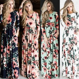 Wholesale Womens Maxi Dresses Xl - Womens Floral Long Maxi Dress Long Sleeve Evening Party Summer Beach Sundress