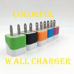 Wholesale Cheap Colorful Iphone Chargers - For Samsung s8 colorful wave one usb home charger 2 pin charging 5V 1A cheap price charging plug USA wall charger