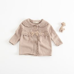 Wholesale Girls Hot Jackets - Everweekend Toddler Baby Knitted Ruffles Sweater Cardigans Ins Hot Sell Brown and White Color Autumn Baby Jackets Outwears