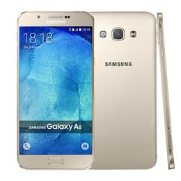 Wholesale Dual Camera A8 - Original Refurbished Samsung Galaxy A8 A8000 Dual SIM 5.7 inch Octa Core 2GB RAM 16GB ROM 16MP Camera 4G LTE Unlocked Mobile Cellphone DHL
