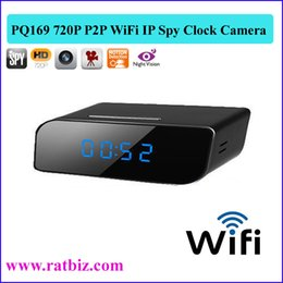 Wholesale Night Vision Hidden Clock - HD 1280*720P Night Vision Motion Detect WiFi IP Camera Clock Radio Hidden Camera P2P internet Spy Clock Hidden IP Wireless Camera PQ169