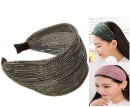 Wholesale Shinny Fabric - New 8CM Wide shinny Headbands Mesh Tinsel Fabric Elegant Ladies Hairbands Womens' Hair Accessories free shipping
