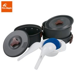 Wholesale Cooking For Person - Fire Maple FMC-202 Backpacking Pot Sets (2 pots frypan 3 PP bowls spoon scoop sponge) for 2-3 Persons Outdoor Camping Cooking