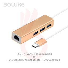 Wholesale Gigabit Ethernet Network Adapter - 3 Ports USB 3.0 Type C Hub Type-C USB C Thunderbolt 3 to Gigabit Ethernet LAN Network RJ45 Adapter for Macbook