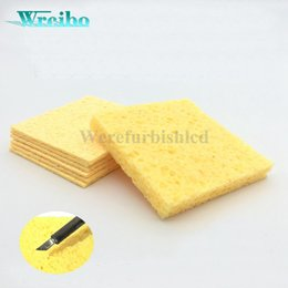 Wholesale Electric Soldering Iron Welding - Electric welding soldering sponge Yellow high temperature sponge lead free Solder iron soldering iron sponge