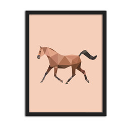 Wholesale Horse Picture Frames - Sample Geometric Shape Horse Canvas Art Print Painting Poster, Wall Pictures for Home Decoration, Home Decor ,Frame not include