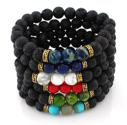 Wholesale Christmas Craft Charms - Lava Rock Beads Charms Bracelets colorized Beads Men's Women's Natural stone Strands Bracelet For Fashion Jewelry Crafts R016