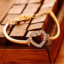Wholesale Diamond Bow Bracelets - Wholesale- Vintage Simple Gold Silver Love Crystal Imitated Diamond Heart Bow Knot Bracelet Hand Chain Jewelry Women Girls Gift BR068