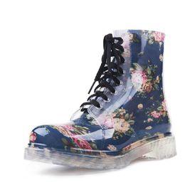 Wholesale Colorful Transparent Rain Boots - 2016 Pvc Transparent Ladies Rain Boots Colorful Spring Fashion Shoes Female Rainboot Martin Footwer Style Ankle Boots XWX195 Blue Black Ligh