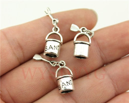 Wholesale Antique Silver Bucket - Wholesale-WYSIWYG 4pcs lot 15*8mm antique silver plated Beach shovel and bucket charms
