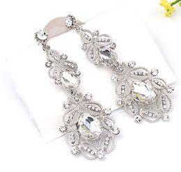 Wholesale Crystal Flower Silver Earrings - Fashion Big long Blue crystal drop earrings for women vintage flower silver plated bride Earrings wedding Jewelry accessories