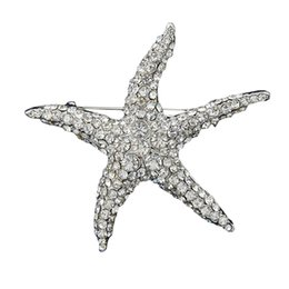 Wholesale Crystal Starfish Brooch Pin - Lovely White Crystal Starfish Brooch Lady Party Bouquet Pin Women Fashion Big Star Broach Silver Plated Star Pins Mujer Wedding Bijoux