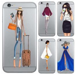2019 couverture d'iphone Moderne Ville Lady Café Vin Défilé De Mode Bikini Robe De Mariage Cristal TPU Clair Housse Etui Souple pour iphone 7 plus 6 plus 5S couverture d'iphone pas cher