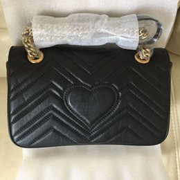 Wholesale American Cows - high quality genuine cow leather heart mark famous shoulder bags for woman feminine handbags gold chain flap diamond lattice