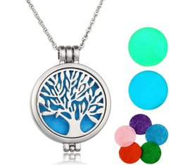 Wholesale Necklace Hollow Tree - luminous tree of life Censer Aromatherapy Locket Essential Oil Diffuser Floating Hollow Locket Pendant Necklaces Perfume Locket Necklace 120