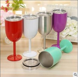 Wholesale Wall Glass China - Colored Wine Glasses Cups 10oz Stainless Steel Tumber Party Cups Double Wall Insulated Metal Goblet With Lid Rambler Newest Tumbler Mugs