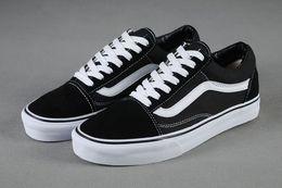 Wholesale Black Spikes Women Fashion Shoes - Women Men Classic Black White Stripe Old Skool Sneakers Shoes Ladies Fashion Skate Trainers 36-44 Free Shipping