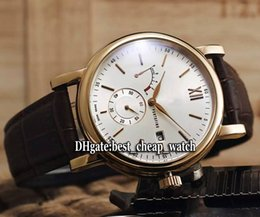 Wholesale Cheap White Gold Watches - Super Clone Brand High Quality Cheap New Power Reserve White Dial IW510107 Rose Gold Automatic Mens Watch Leather Strap Gents AAA Watches