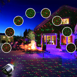 Wholesale Outdoor Led Xmas Eu - Christmas Projector Laser Lights, Waterproof Red and Green Star 8 Patterns LED Light Outdoor for Halloween Xmas Holiday Party Landscape
