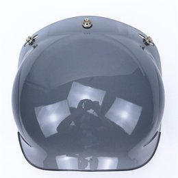 Wholesale Vintage Bubble Shield - new 3-snap viseira bolha vintage motorcycle helmet bubble shield visor lens glasses retro visor wind shield 12 colors avaiable