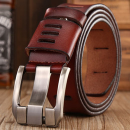 Wholesale Wholesale Designer Jeans For Men - Wholesale- 2017 hot sale brand luxury genuine leather belt for men casual hollow designer belts mens high quality strap jeans coffee